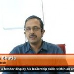 How can a fresher display his/er  leadership skills within an organization?